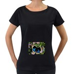 butterfly_4 Maternity Black T-Shirt