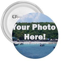 Personalised Photo 3  Button from SnappyGifts.co.uk Front