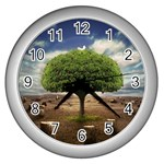 4-908-Desktopography1 Wall Clock (Silver)