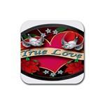 True-Love-Tattoo-Belt-Buckle Rubber Square Coaster (4 pack)