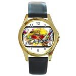 Taken-Tattoo-Belt-Buckle Round Gold Metal Watch