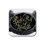 Rock-n-Roll-For-Life-Tattoo-Belt-Buckle Rubber Square Coaster (4 pack)