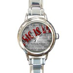 Music-Is-Life-Belt-Buckle Round Italian Charm Watch