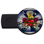 Mind_-Body-_-Soul-Tattoo-Belt-Buckle USB Flash Drive Round (4 GB)