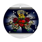 Mind_-Body-_-Soul-Tattoo-Belt-Buckle Round Ornament (Two Sides)