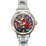 Love-Hurts-Tattoo-Chrome-Belt-Buckle Round Italian Charm Watch