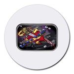 Love-Hurts-Tattoo-Chrome-Belt-Buckle Round Mousepad