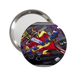Love-Hurts-Tattoo-Chrome-Belt-Buckle 2.25  Handbag Mirror