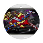 Love-Hurts-Tattoo-Chrome-Belt-Buckle Round Ornament (Two Sides)