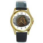 I76E Round Gold Metal Watch