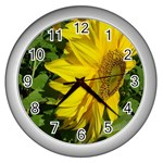 flowers_30 Wall Clock (Silver)