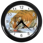 tiger_4 Wall Clock (Black)