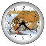 tiger_4 Wall Clock (Silver)