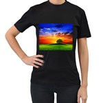 wallpaper_10251 Women s Black T-Shirt (Two Sides)