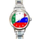 Italian & Russian Flag (diag) Round Italian Charm Watch