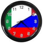 Italian & Russian Flag (diag) Wall Clock (Black)
