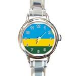 Rwandan Flag Round Italian Charm Watch