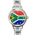 South African Flag Round Italian Charm Watch