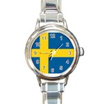 Swedish Flag Round Italian Charm Watch
