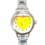 Heart Yellow Red - Wedding Invitation The MUSEUM Zazzle Gifts Round Italian Charm Watch