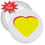 Heart Yellow Red - Wedding Invitation The MUSEUM Zazzle Gifts 3  Button (10 pack)