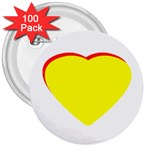 Heart Yellow Red - Wedding Invitation The MUSEUM Zazzle Gifts 3  Button (100 pack)