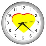 Heart Yellow Red - Wedding Invitation The MUSEUM Zazzle Gifts Wall Clock (Silver)