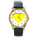 Heart Yellow Red - Wedding Invitation The MUSEUM Zazzle Gifts Round Gold Metal Watch