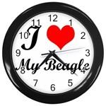 I Love My Beagle Wall Clock (Black)