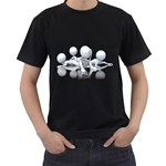 Stick Figure Group Confused 1600 Clr Black T-Shirt