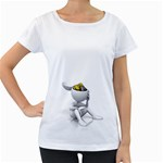 Stick Figure Gears Turning 1600 Clr Maternity White T-Shirt