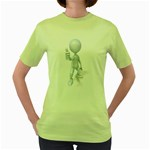 Stick Figure Thumbs Up 1600 Clr Women s Green T-Shirt