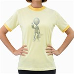 Stick Figure Thumbs Up 1600 Clr Women s Fitted Ringer T-Shirt