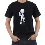 Stick Figure Thumbs Up 1600 Clr Black T-Shirt (Two Sides)