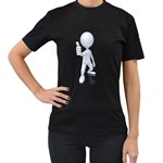 Stick Figure Thumbs Up 1600 Clr Women s Black T-Shirt (Two Sides)