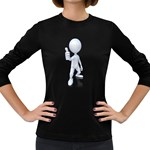 Stick Figure Thumbs Up 1600 Clr Women s Long Sleeve Dark T-Shirt