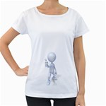 Stick Figure Thumbs Up 1600 Clr Maternity White T-Shirt