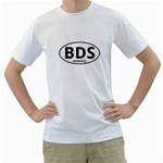 BDS - Barbados Euro Oval Men s T-Shirt (White) (Two Sided)